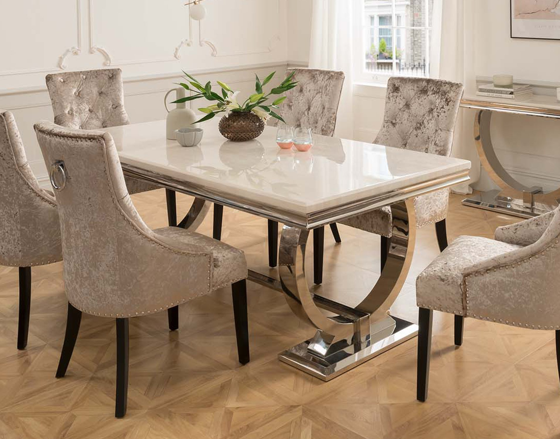 Arianna Cream Marble 200cm Dining Set Table 6 Belvedere Pewter Chairs Furniture World