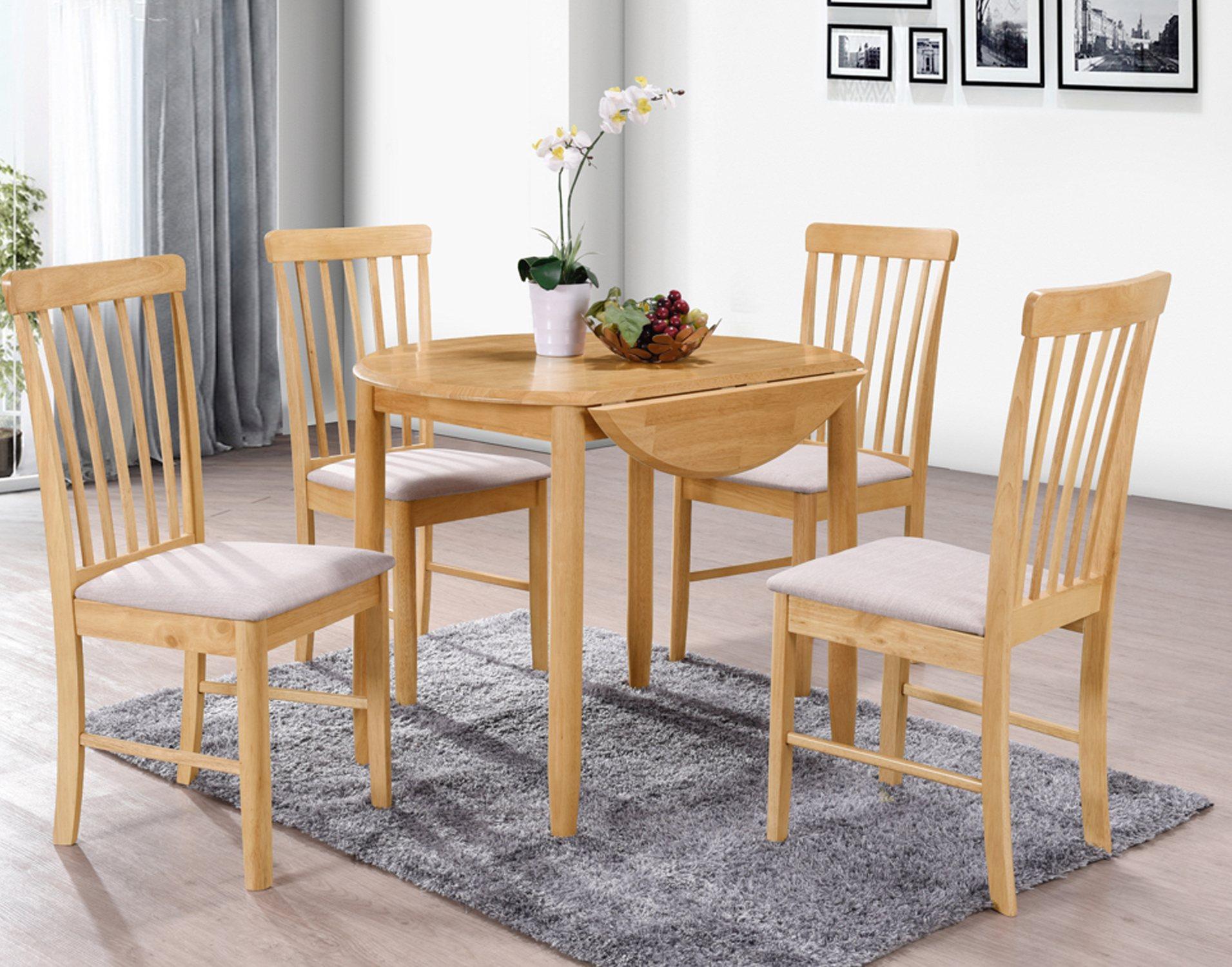 Alaska Oak Finish Round Drop Leaf Table Furniture World