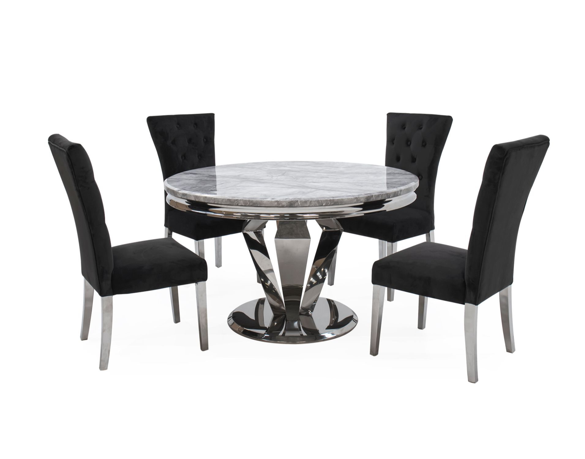 Arturo Compact Round Dining Table Set With Grey Marble Top 4 Pembroke Charcoal Dining Chairs Furniture World