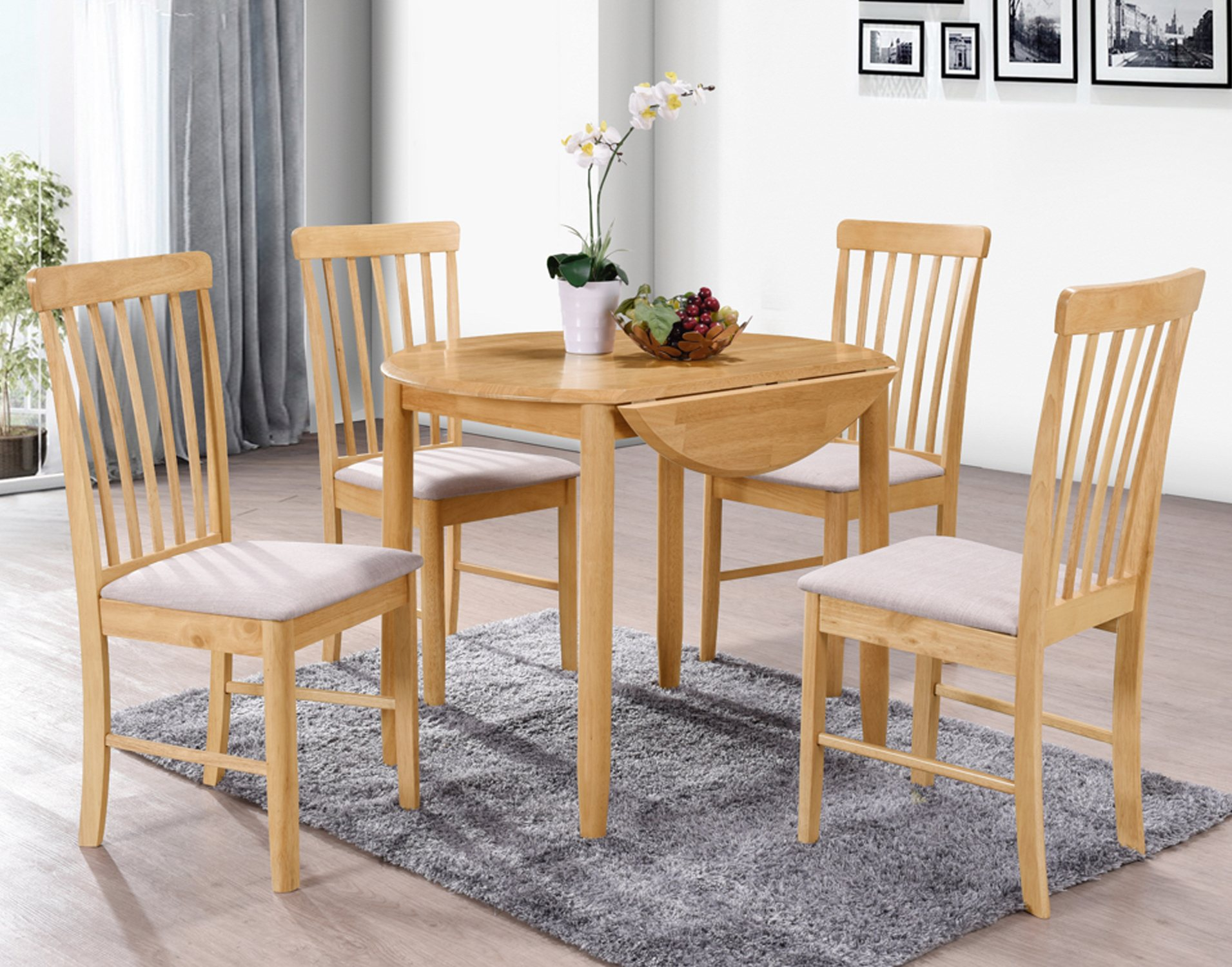 Alaska Oak Round Drop Leaf Dining Table Set & 9 Chairs
