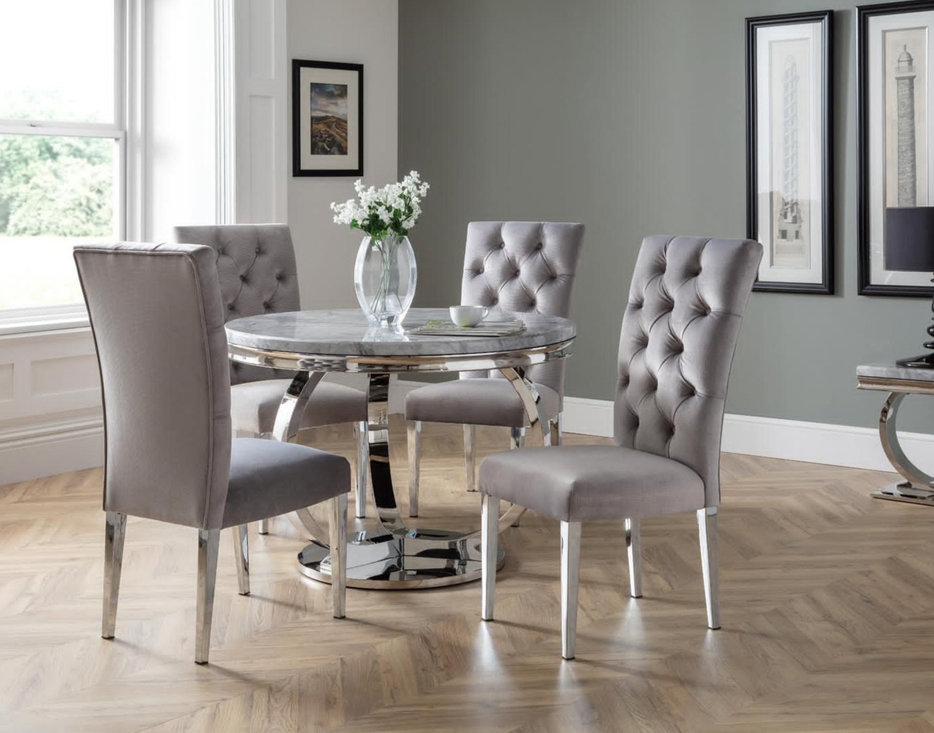 Arundel Marble Round Dining Table Set, Round Marble Table Dining Set