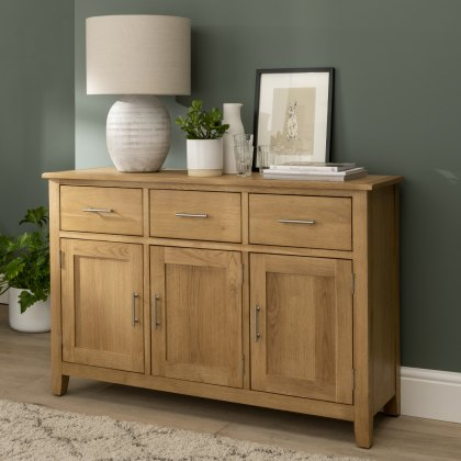 Oak City - Nebraska Modern Oak 3 Doors 3 Drawer Sideboard