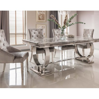 Arianna Grey Marble 200cm Dining Set - Table + 6 Belvedere Pewter Chairs