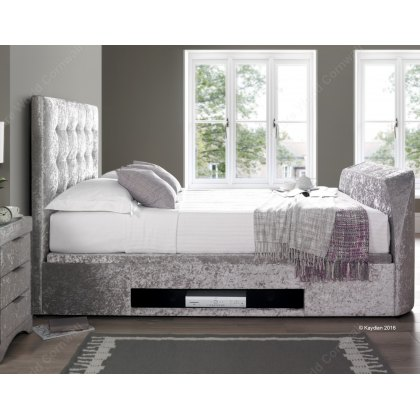 Bastille Ottoman TV Bed in Crushed Silver Fabric