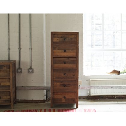 Grant Reclaimed Wood 6 Drawer Tall Chest of Drawers