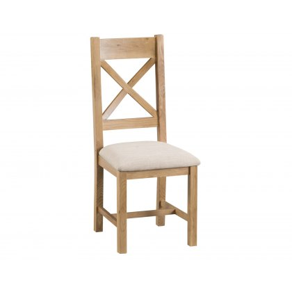 Light Rustic Oak Cross Back Dining Chair Fabric Seat