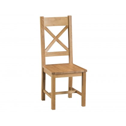 Light Rustic Oak Cross Back Dining Chair Wooden Seat