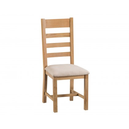 Light Rustic Oak Ladder Back Dining Chair Fabric Seat
