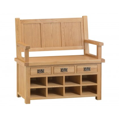 Light Rustic Oak Monks Bench