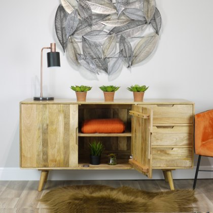 Oak City - Aztec Solid Mango Wood Large Sideboard