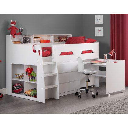 Juno Midsleeper Bed in All White Finish