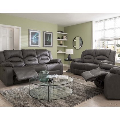 Nova 3 Seater & 2 Seater Reclining Sofa Package in Grey
