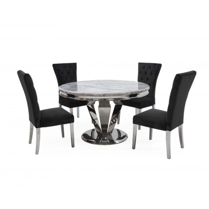 Arturo Compact Round Dining Table Set with Grey Marble Top & 4 Pembroke Charcoal Dining Chairs