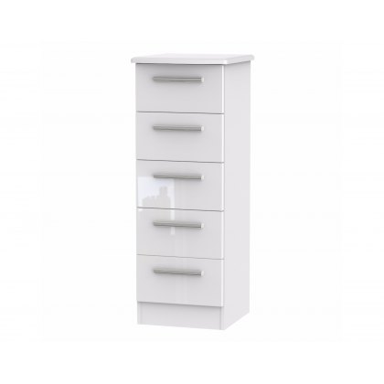 Belgravia High Gloss 5 Drawer Narrow Chest of Drawers