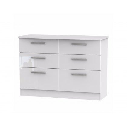 Belgravia High Gloss 6 Drawer Midi Chest of Drawers