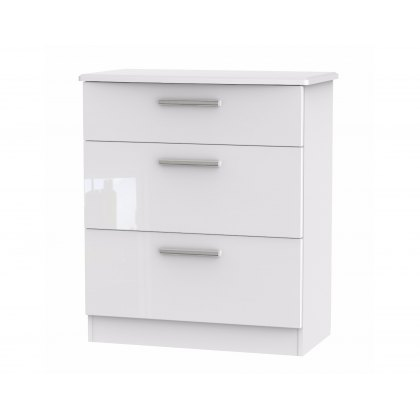 Belgravia High Gloss 3 Drawer Deep Chest of Drawers