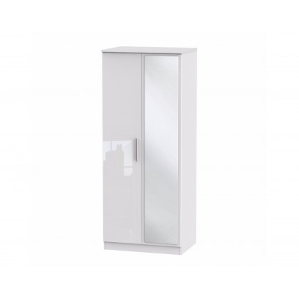"Belgravia High Gloss 2'6"" Mirror Wardrobe"