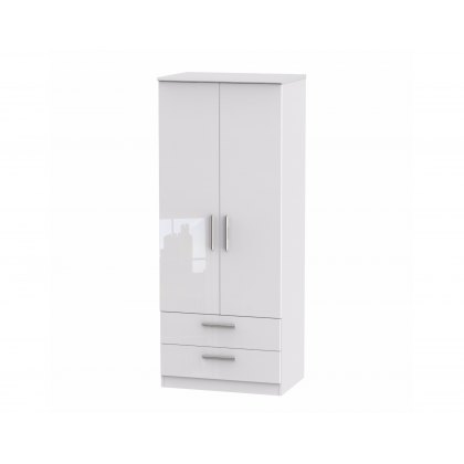 "Belgravia High Gloss 2'6"" 2 Drawer Wardrobe"