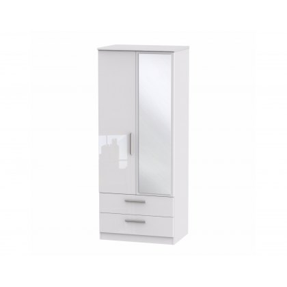 "Belgravia High Gloss 2'6"" 2 Drawer Mirror Wardrobe"