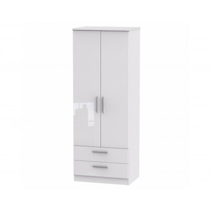 "Belgravia High Gloss Tall 2'6"" 2 Drawer Wardrobe"