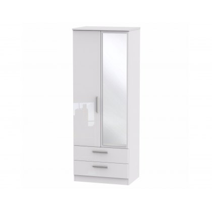"Belgravia High Gloss Tall 2'6"" 2 Drawer Mirror Wardrobe"