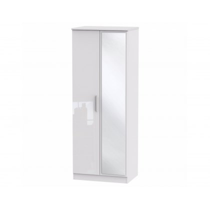 "Belgravia High Gloss Tall 2'6"" Mirror Wardrobe"