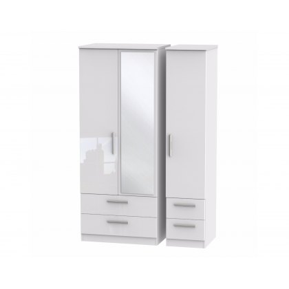 Belgravia High Gloss Triple 2 Drawer Mirror + Drawer Wardrobe