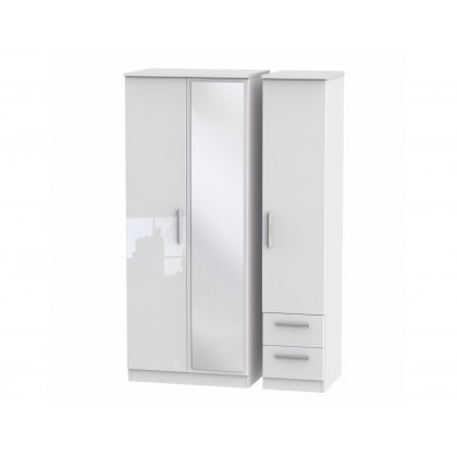 Belgravia High Gloss Triple Mirror + Drawer Wardrobe