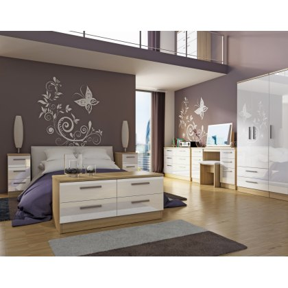 Belgravia High Gloss Tall Triple Plain + Drawer Wardrobe