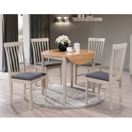 Alaska Painted Compact Round Drop Leaf Dining Table Set & 4 Chairs