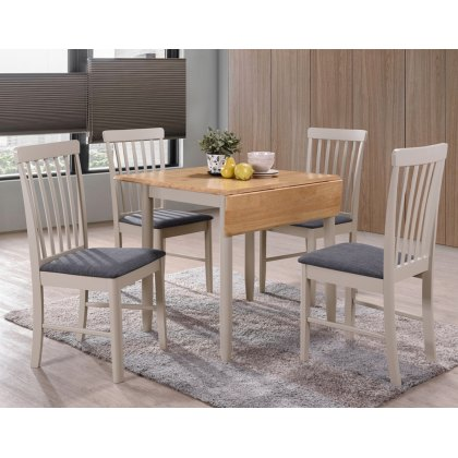 Alaska Painted Compact Square Drop Leaf Dining Table Set & 2 Chairs