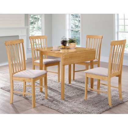 Alaska Oak Square Drop Leaf Dining Table Set & 4 Chairs