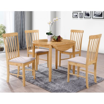 Alaska Oak Round Drop Leaf Dining Table Set & 4 Chairs