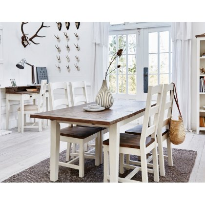Cranford Reclaimed Wood 140cm-180cm Extending Dining Table Set & 4 Wooden Dining Chair