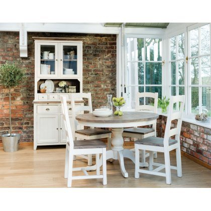Cranford Reclaimed Wood 120cm Round Dining Table & 4 Wooden Dining Chair