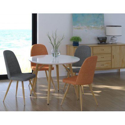 Contro White High Gloss Compact Round Dining Table Set
