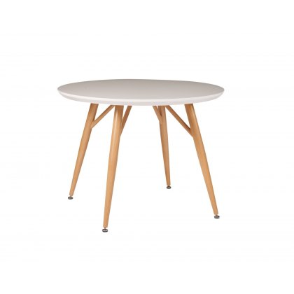 Contro White High Gloss Compact Round Dining Table