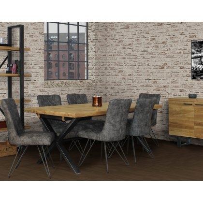 Forge Industrial 190 Dining Table Set & 6 Grey Dining Chairs