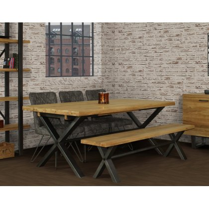 Forge Industrial 150 Dining Table Set with 140cm Bench & 2 Grey Dining Chairs