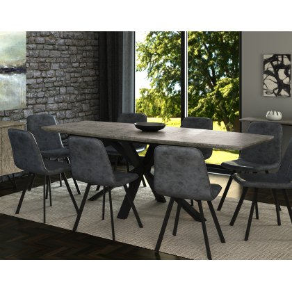 Titan Extending Dining Table Set & 6 Grey Dining Chairs