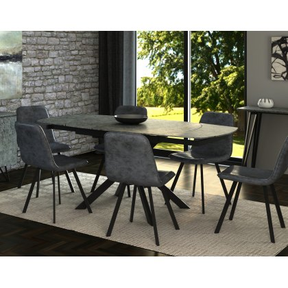 Titan Motion Dining Table Set & 4 Grey Dining Chairs