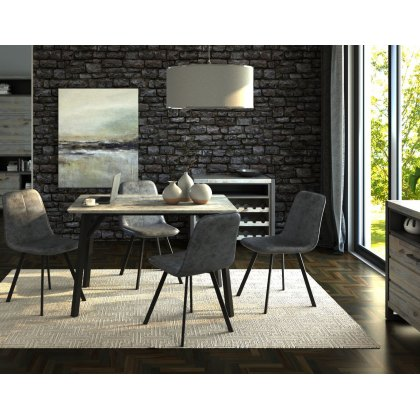 Titan Compact Rectangular Dining Table Set & 4 Grey Dining Chairs
