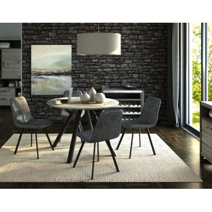 Titan Compact Round Dining Table Set & 4 Grey Dining Chairs