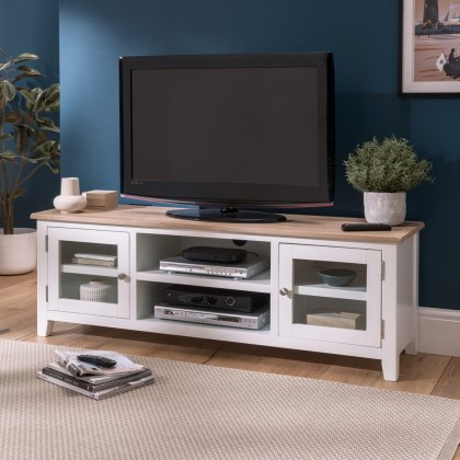 Oak City - Nebraska Oak 150cm Large TV Unit For Screens Up To 68"