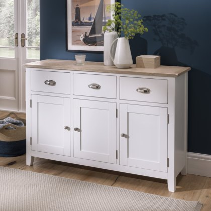 Oak City - Nebraska Oak White 3 Door 3 Drawer Sideboard