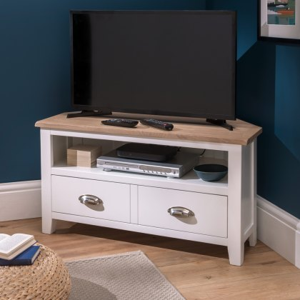Oak City - Nebraska Oak 90cm Corner TV Unit For Screens Up To 42"
