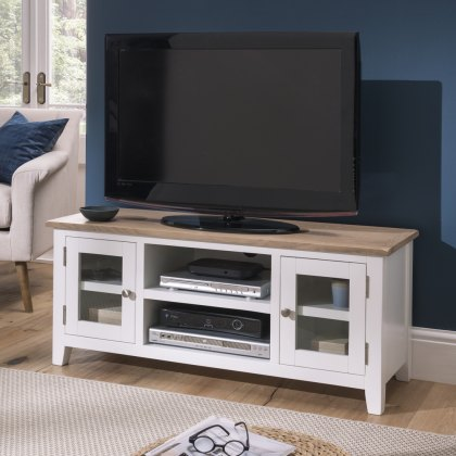 Oak City - Nebraska Oak 120cm Large TV Unit For Screens Up To 55"