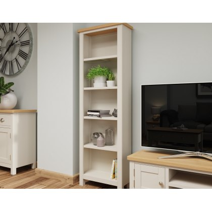 Oak City - Dorset Painted Truffle Grey Oak Tall Bookcase