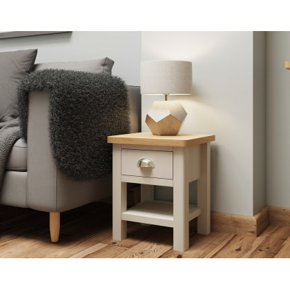 Oak City - Dorset Painted Truffle Grey Oak Lamp Table
