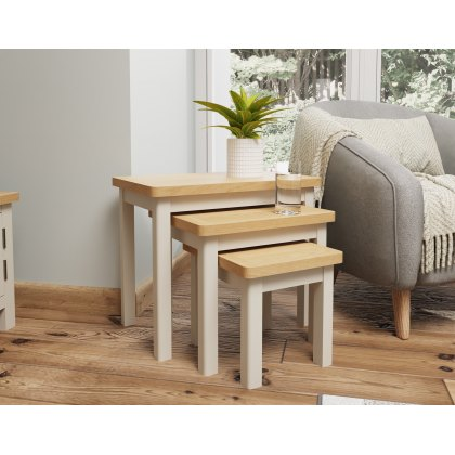 Oak City - Dorset Painted Truffle Grey Oak Nest of Tables